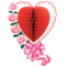 Сердце с бантом и розами красное 43см/G